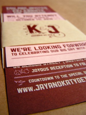 Katy Jason Red Pink Screenprinted Wedding Invitations Full 300x399 Katy + Jasons Vintage Inspired Wedding Invitations