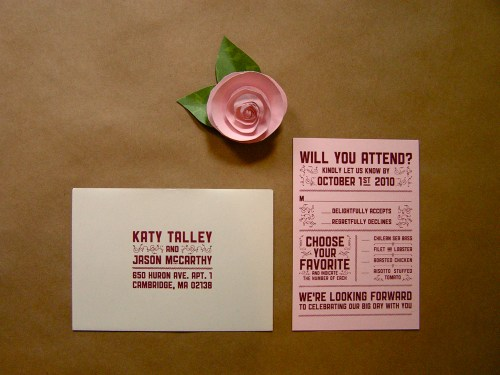 Katy Jason Red Pink Screenprinted Wedding Invitations RSVP 500x375 Katy + Jasons Vintage Inspired Wedding Invitations