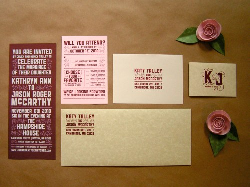 Katy Jason Red Pink Screenprinted Wedding Invitations Suite 500x375 Katy + Jasons Vintage Inspired Wedding Invitations