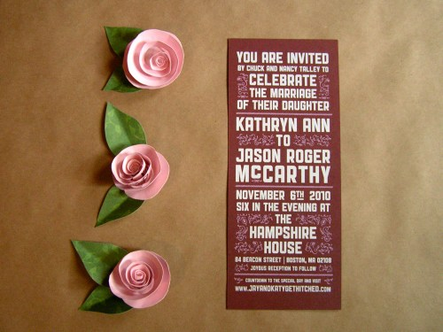 Katy Jason Red Pink Screenprinted Wedding Invitations 500x375 Katy + Jasons Vintage Inspired Wedding Invitations