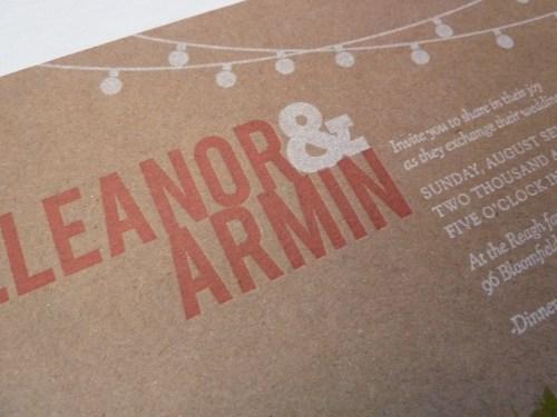 Kraft Chipboard Wedding Invitation Detail 500x375 Eleanor + Armins Chipboard Wedding Invitations