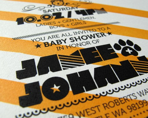 Tiger Stripe Orange Black Stripe Baby Shower Invitation 500x400 Tiger Theme Baby Shower Invitations