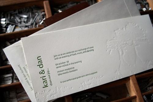 blackbird letterpress custom wedding invitations cypress 500x333 Wedding Invitations   Blackbird Letterpress