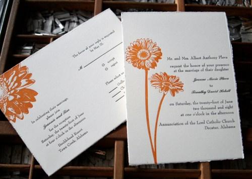 blackbird letterpress custom wedding invitations daisy 500x356 Wedding Invitations   Blackbird Letterpress
