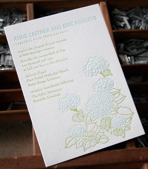 blackbird letterpress custom wedding invitations hydrangea 500x568 Wedding Invitations   Blackbird Letterpress
