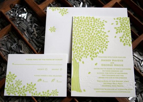 blackbird letterpress custom wedding invitations leaves 500x356 Wedding Invitations   Blackbird Letterpress