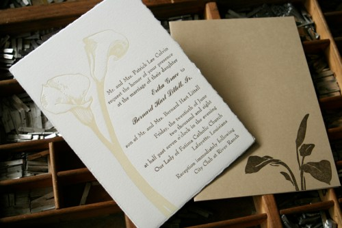 blackbird letterpress custom wedding invitations lily 500x333 Wedding Invitations   Blackbird Letterpress