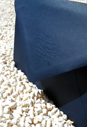 blue calligraphy wedding invitations envelope emboss 300x436 Stephanie + Davids Nautical Wedding Invitations