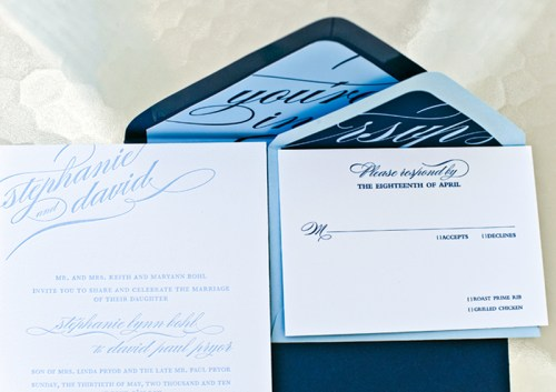 blue calligraphy wedding invitations rsvp 500x353 Stephanie + Davids Nautical Wedding Invitations
