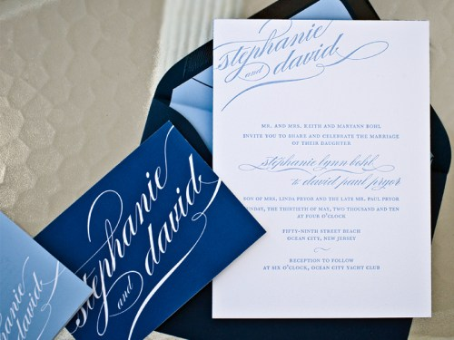 blue calligraphy wedding invitations suite 500x375 Stephanie + Davids Nautical Wedding Invitations