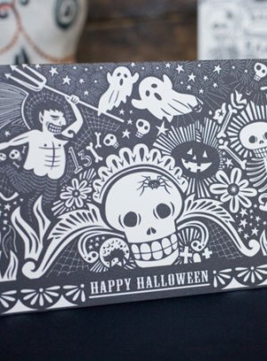 halloween card hello lucky 300x406 Seasonal Stationery: Halloween Cards and Invitations