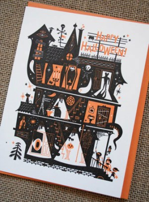 halloween letterpress card hello lucky 300x406 Seasonal Stationery: Halloween Cards and Invitations