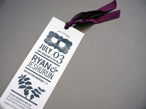 jeshurun coffee books save the date bookmark 500x373 Jeshurun + Ryans Book and Coffee Inspired Wedding Invitations