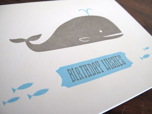 lulu dee letterpress card birthday whale 500x375 Lulu + Dee