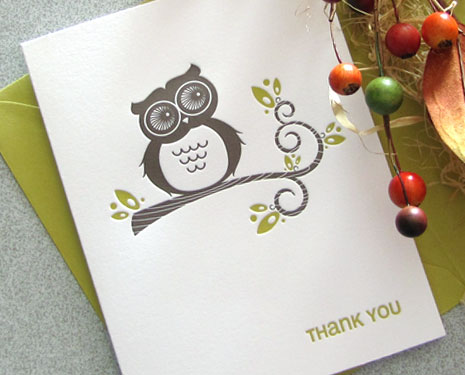 owl letterpress thank you Autumn Inspired Notecards