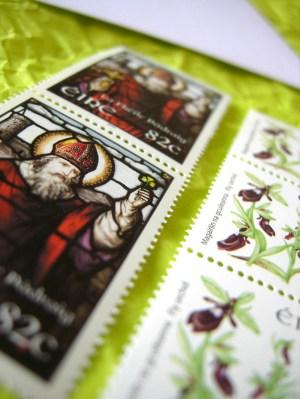spring green wedding invitation stamps 300x399 Valentina + Marcos Ireland Inspired Italian Wedding Invitations