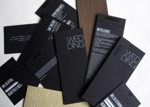 Black White Modern Wedding Invitation Suite 500x359 Modern Foil Stamp Wedding Invitations