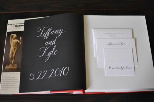 Classic Black White Wedding Calligraphy Guestbook 500x331 Classic Black + White Calligraphy