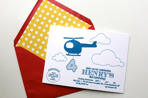 blue helicopter letterpress birthday party invitation1 500x333 Helicopter Birthday Party Invitations