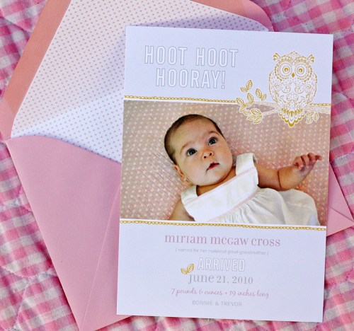 Baby Girl Pink Birth Announcements 500x468 Pink Birth Announcements for Baby Miriam!