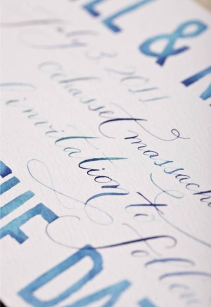 Blue Watercolor Calligraphy Wedding Save the Dates3 300x437 Watercolor + Calligraphy Save the Dates