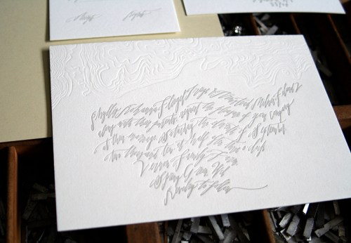 Modern Calligraphy Topography Letterpress Wedding Invitation 500x346 Calligraphy + Topographic Map Wedding Invitations