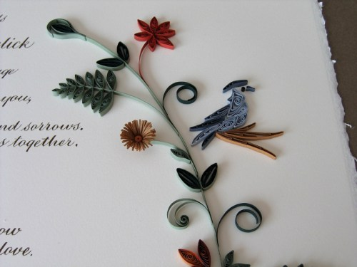 Nature Inspired Quilled Marriage Certificate2 500x375 Nature Inspired Quilled Marriage Certificate