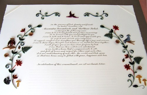 Nature Inspired Quilled Marriage Certificate8 500x323 Nature Inspired Quilled Marriage Certificate