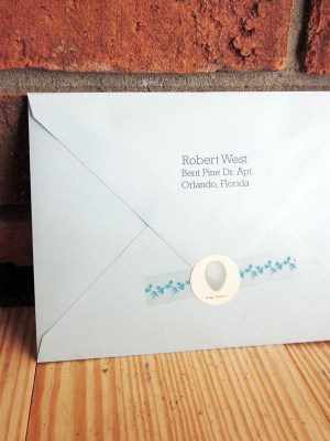 Rustic Blue Brown Wedding Invitation Twine Envelopes Reverse 300x400 Danielle + Robs Rustic Chipboard Wedding Invitations