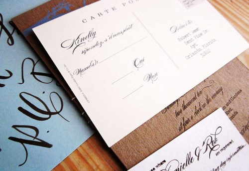 Wedding Invitation RSVP Label 500x343 Danielle + Robs Rustic Chipboard Wedding Invitations