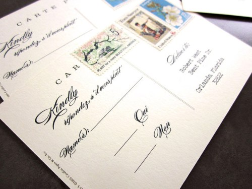 Wedding Invitation RSVP Postcard Vintage Stamps2 500x375 Danielle + Robs Rustic Chipboard Wedding Invitations