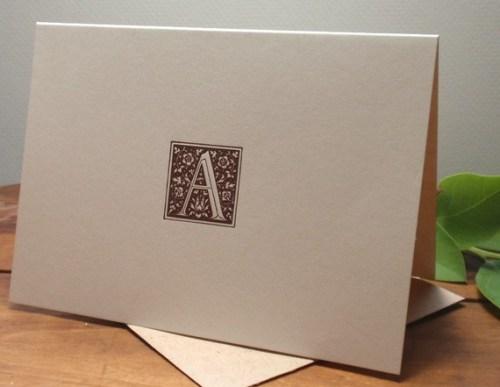 Bumblebee Letterpress Ornate Monogram Cards 500x387 Monogram Note Cards