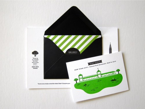 Erin Jang Modern Black White Green Stripe Wedding Invitations 500x375 Best of 2010 Wedding Invitations: The Indigo Bunting