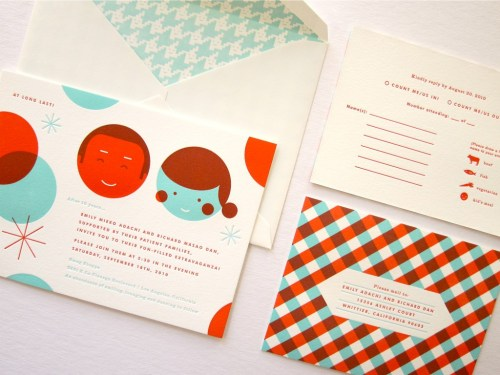 Erin Jang Modern Houndstooth Wedding Invitations 500x375 Best of 2010 Wedding Invitations: The Indigo Bunting