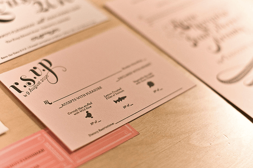 Pink Gold Letterpress Wedding Invitation RSVP Card Best of 2010 Wedding Invitations: Metallics + Foils