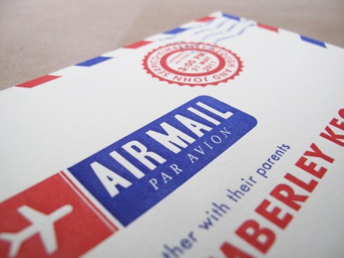 airmail modern travel inspired wedding invitation 500x375 Kim + Johns Letterpress Airmail Wedding Invitations