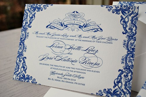 Blue Letterpress Puerto Rico Wedding Invitations Text 500x334 Lorna + Joses Puerto Rico Destination Wedding Invitations