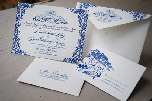 Blue Letterpress Puerto Rico Wedding Invitations 500x335 Lorna + Joses Puerto Rico Destination Wedding Invitations