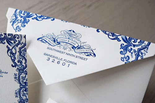 Blue Letterpress Puerto Rico Wedding Invitations21 500x335 Lorna + Joses Puerto Rico Destination Wedding Invitations