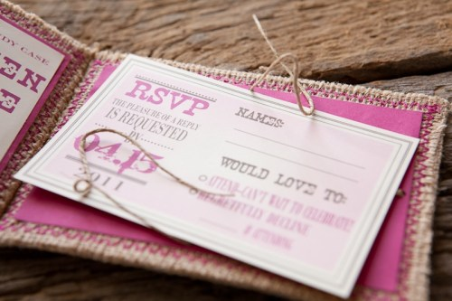 Burlap Pink Monogram Wedding Invitation Inside2 500x333 Erin + Davids Rustic Pink + Burlap Wedding Invitations