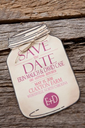 Burlap Pink Monogram Wedding Invitation Mason Jar Save the Date 300x450 Erin + Davids Rustic Pink + Burlap Wedding Invitations