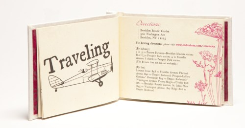 Creative Book Custom Wedding Invitations Travel Info 500x263 Shana + Edward's Hardcover Book Wedding Invitations