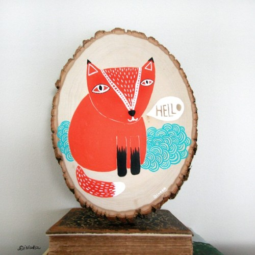 Fox Painting on Wood Dinara Mirtalipova 500x500 Home Sweet Home Papercut Artwork