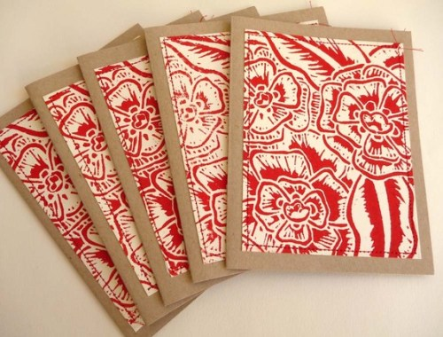 Hand printed linoleum cut stationery 500x380 Hand Block Printed Note Cards