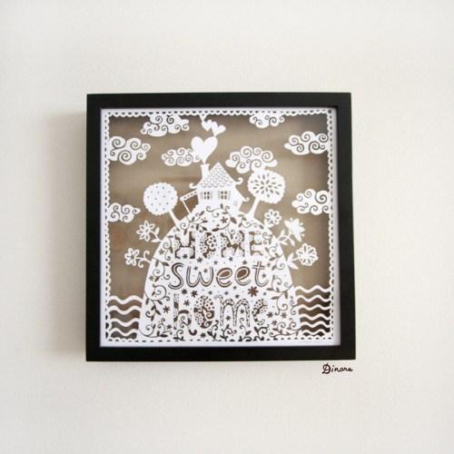 Home Sweet Home Paper Cut Dinara Mirtalipova Framed 500x500 Home Sweet Home Papercut Artwork