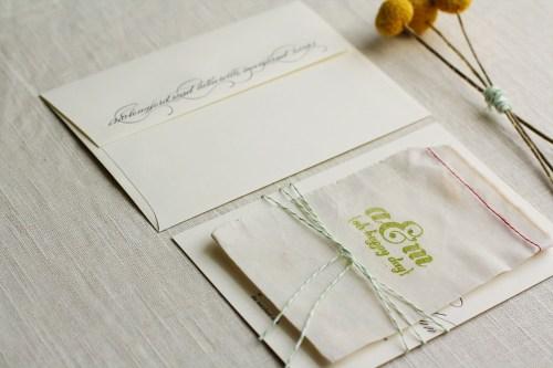 Modern Apple Green Letterpress Wedding Invitations 500x333 Ashley + Matts Elegant Apple Green and Black Wedding Invitations