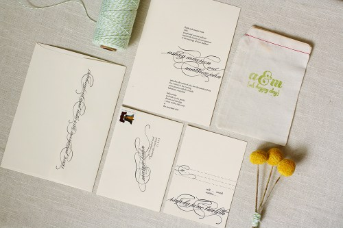 Modern Apple Green Letterpress Wedding Invitations3 500x333 Ashley + Matts Elegant Apple Green and Black Wedding Invitations