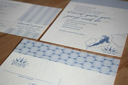 Modern Blue Pattern Letterpress Wedding Invitation 500x333 Hannah + Youngs Modern Destination Wedding Invitations