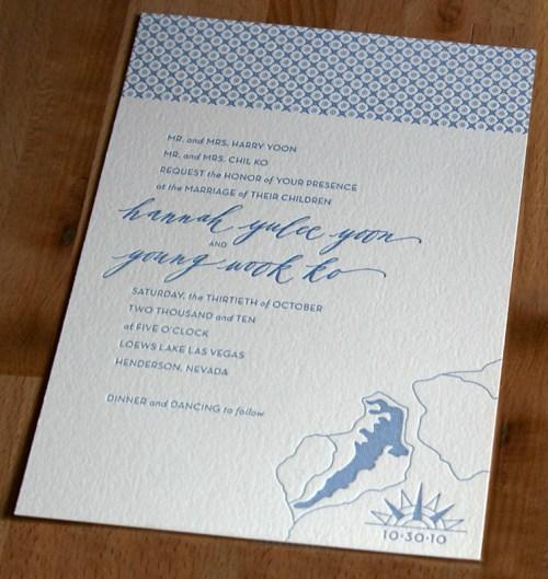 Modern Blue Pattern Letterpress Wedding Invitation2 500x529 Hannah + Youngs Modern Destination Wedding Invitations