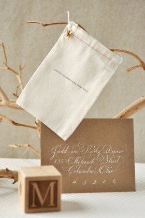 Organic Gray Gold Baby Announcements White Calligraphy 300x451 Organic Gray + Gold Announcements for Baby Maeve